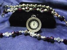 Woman's Celsior Watch with 3 Beaded Bands (Purple & Silver) B091
