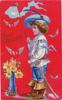 Valentine~LITTLE CLAPSADDLE PIRATE SEAFARING BOY~WINGED HEARTS~Antique Postcard