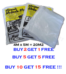 LARGE 4M x 5M CLEAR POLYTHENE DUST SHEET MASKING FOIL PAINTING COVER Sale price!