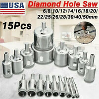 15Pcs Diamond Drill Bits for Glass Ceramic Tile Porcelain Hole Maker Saw Cutting