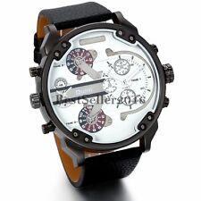 Fashion Sport Men Military Big Dial Black Leather Band Quartz Analog Wrist Watch