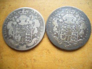 SCARCE SILVER GEORGE IV HALFCROWNS  DATED 1829 AND 1826 1829 RARE DATE