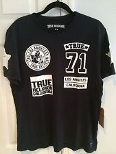 NWT True Religion Men's Prints On Chest Logo Crew Tee Shirt Jet Black Size XL