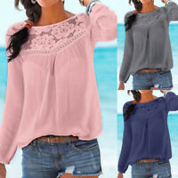 Fashion Women's Solid Casual Tops Long sleeve Lace Patchwork Blouse T-shirt