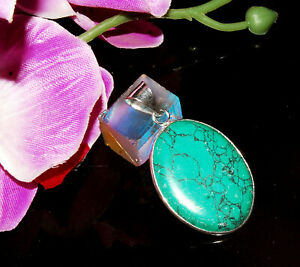 New TURQUOISE Gemstone 925 Sterling Silver Plated Necklace Pendant JMD