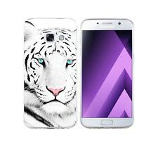 Coque Samsung A 3 ( Modele 2017 ) - Motif Tigre Blanc + Verre Trempé