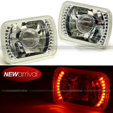 """Pair 7""""x6"""" Projector Headlight Fit H6014 H6052 H6054 Red LED Angel Eye DRL"""