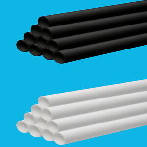 32mm, 40mm, 50mm Solvent Weld Waste Pipe 1 Metre Length Black Or White Available