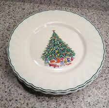 "SALEM Porcelle NOEL Christmas Tree Pattern 10 3/4"" DINNER PLATES Set of 4"