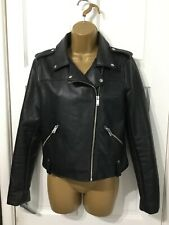 PRIMARK Black Faux Leather Biker Jacket Size 10
