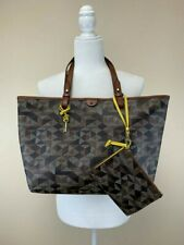 Fossil Rachel Printed Shopper Tote Brown Tan Patchwork Matching Wristlet Pouch