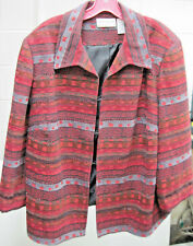 """Ladies """"Alfred Dunner Jacket. Size 22W Red Grey & Black with4 Hook & Eye Closure"""