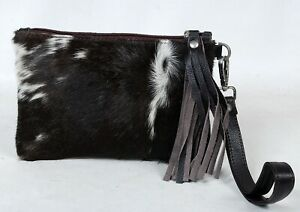 """Real Cowhide Leather Wristlet Clutch Wallet Double Side Hairon 8.5""""x5.5"""" RW-7120"""