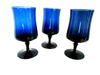 Vintage Set of 3 Cobalt Blue Glass Wine Glasses / Water Goblets Barware Stemware