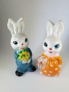 Vintage Mr. & Mrs. Bunny Rabbit Plastic Easter D2
