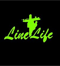 Line Man Electrical Power Worker LINE LIFE in LIME GREEN  >> FREE US SHIP