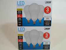 6 Pack LED CANDELABRA base small DAYLIGHT Feit 40W Equivalent 5W Light Bulb watt