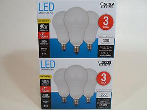 6 Pack LED CANDELABRA base small DAYLIGHT Feit 40W Equivalent 5W Light Bulb watt