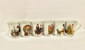 Vintage Norman Rockwell Mugs - 6 available. Collectible Made In Japan 1981 1982