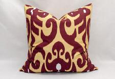 Burgundy ikat Pillow cover, Uzbekistan Ikat handmade handwoven Cotton cushion