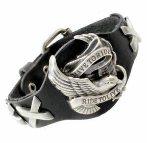 Leather Bracelet Jewellery Biker Chopper Motorbike Eagle LIVE TO RIDE Harley