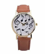 Faux Leather Brown Strap Ladies Men's Music Watch Gold Plated Case Xmas Gift
