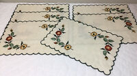 Six Vintage Placemats, Embroidered Flowers & Leaves, Linen, Light Beige, Green