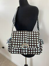 Kalencom Heavenly Dots Chocolate Blue Laminated Buckle Diaper Bag New With Tags