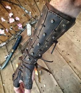 Medieval Men's Lace-up Rivets PU Arm Wrist Cuffs Bracers Warrior Gauntlet Glove
