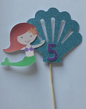 Personalised Birthday MERMAID topper Glitter card cake decoration