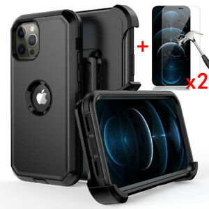 For iPhone 12 Pro Max 12 11 XR Case Cover With Belt Clip+Glass Screen Protector