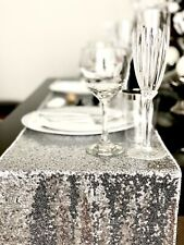 """Silver Sequin Table Runner 12""""x108"""" Sparkly Weddings Party Decor"""