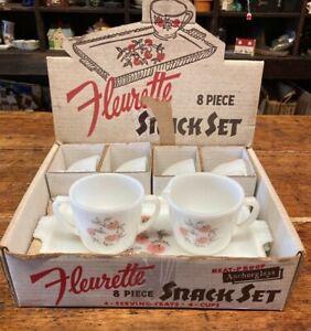 Vintage Anchor Hocking Fire-King Fleurette Snack Set 9 Piece Set