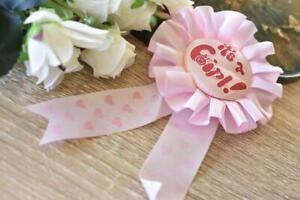 Its a Girl Pink Baby Shower Ribbon Rosette Pin Badge Award Brooch Favors