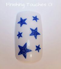 Nail Art Sticker- Glitter Star Decal #457 BLE-Blue Transfer Children Stocking