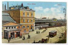 RIESA (Elbe) - BAHNHOF, Gebäude, Vorplatz, Zug .... - gelaufen 1931