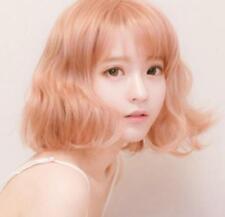 Mid Long Gold Blonde Wig Curly Wavy Hair Fashion Korean Women Cosplay Full Wig