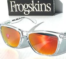 NEW* Oakley Frogskins Clear Crystal w POLARIZED Fire Iridium Sunglass oo9245