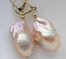 Details about  Huge 23mm pink baroque keshi reborn pearl dangle earring