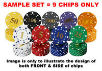 HOT STAMPED NUMBERED ABS POKER CHIPS 11.5g (sample set)