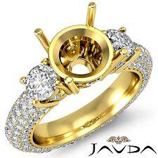 3 Stone Diamond Engagement Eternity Ring 18k Yellow Gold Round Semi Mount 2.6Ct