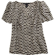 NWT MARC by MARC JACOBS Black Short Sleeve Zigzag Print top/ blouse / shirt Sz M