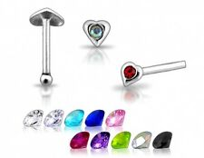 20 Wholesale 22g Silver Heart Clear Stone CZ Gem Nose Studs Pins Rings Bars N001