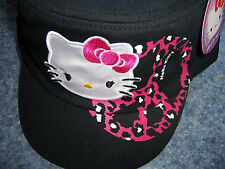 HELLO KITTY Cadet Hat Girls Juniors Black Pink Glitter Leopard Print Peace Sign