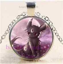 Pokemon Umbreon Photo Cabochon Glass Dome Silver Chain Pendant Necklace