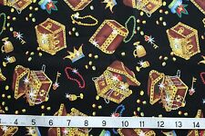 Timeless Treasures Pirate Treasure Chest Money Black Fabric 100% Cotton Quilt