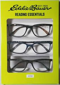 Eddie Bauer Designer Reading Glasses 3 TORTOISE Black Green Navy Readers +2.50