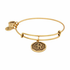 "Alex and Ani Initial ""R"" Expandable Wire Bangle Bracelet, 2.5-Inch, Rafaelian Gold"