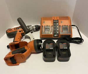 RIDGID 18V TOOLS R841150 DRILL, RAPID MAX TWIN CHARGER, LIGTH, 2 BATTERY TESTED