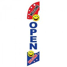 Open Welcome Smiley Face Windles Swooper Advertising Sign 2.5' Wide Banner Flag